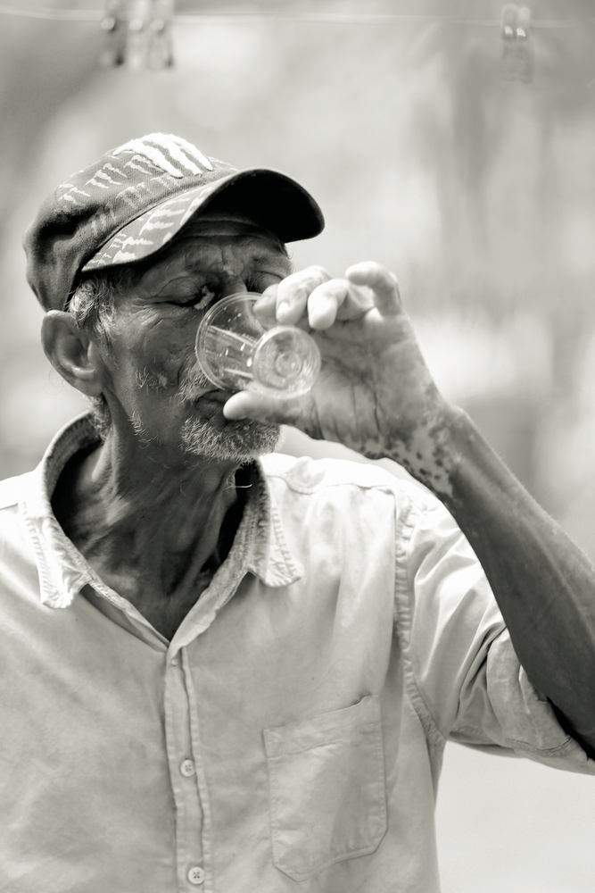 Man takes sip of clean water Filter of Hope Mission Trip Nicaragua 2017