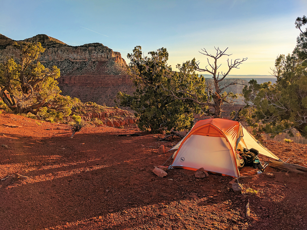 Evening camp on the Tilted Mesa along the Nankoweap Trail Grand Canyon VIE Adventurer Issue 2017