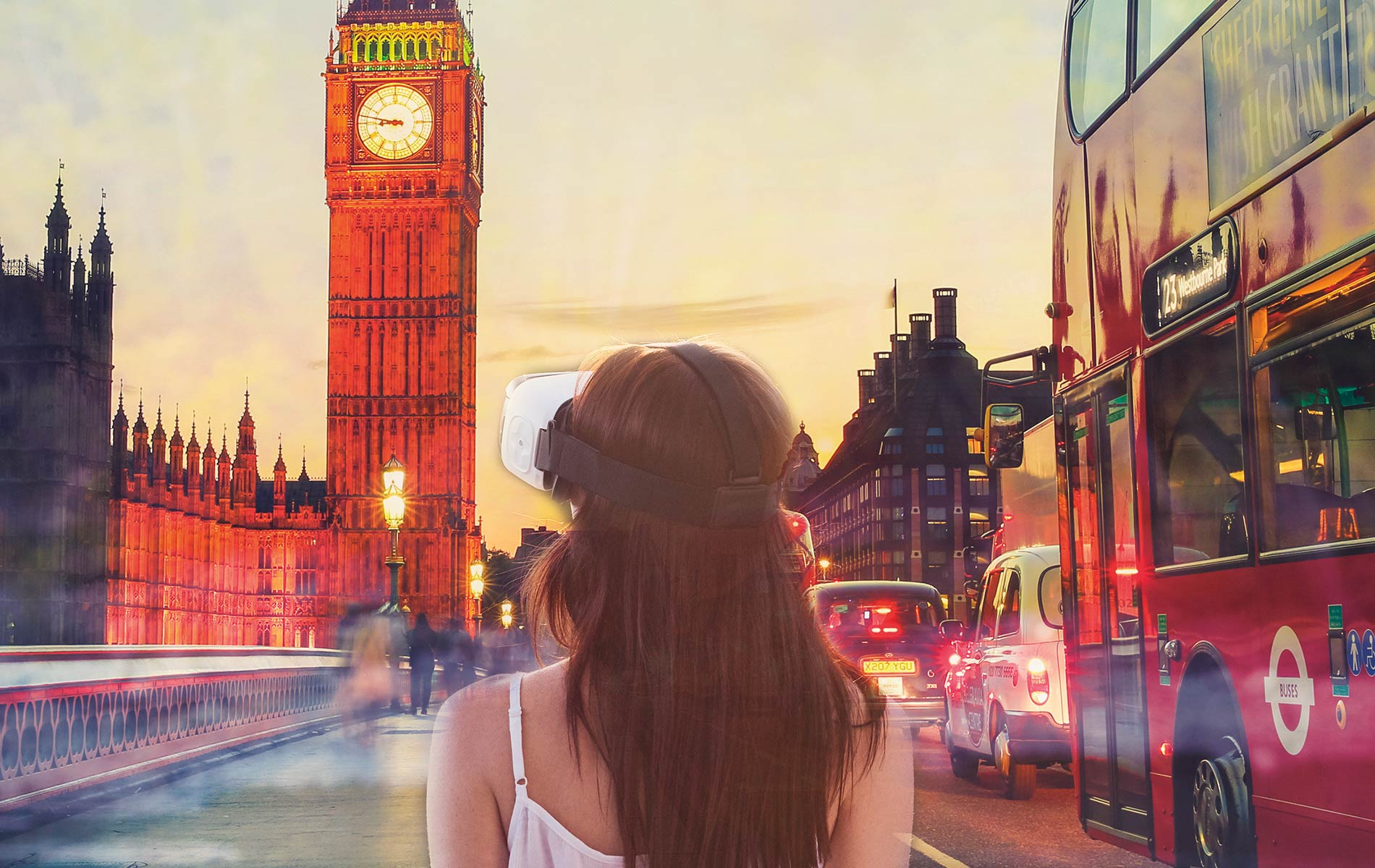 Virtual reality, girl wearing VR gear in virtual London