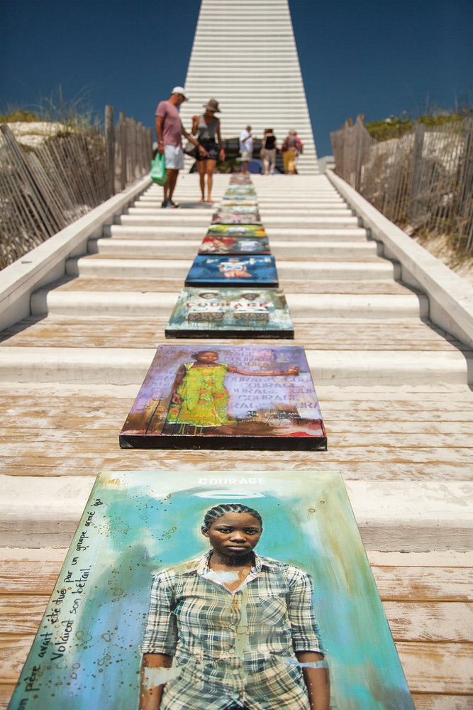 Wall of Courage paintings were displayed and photographed around Seaside Florida