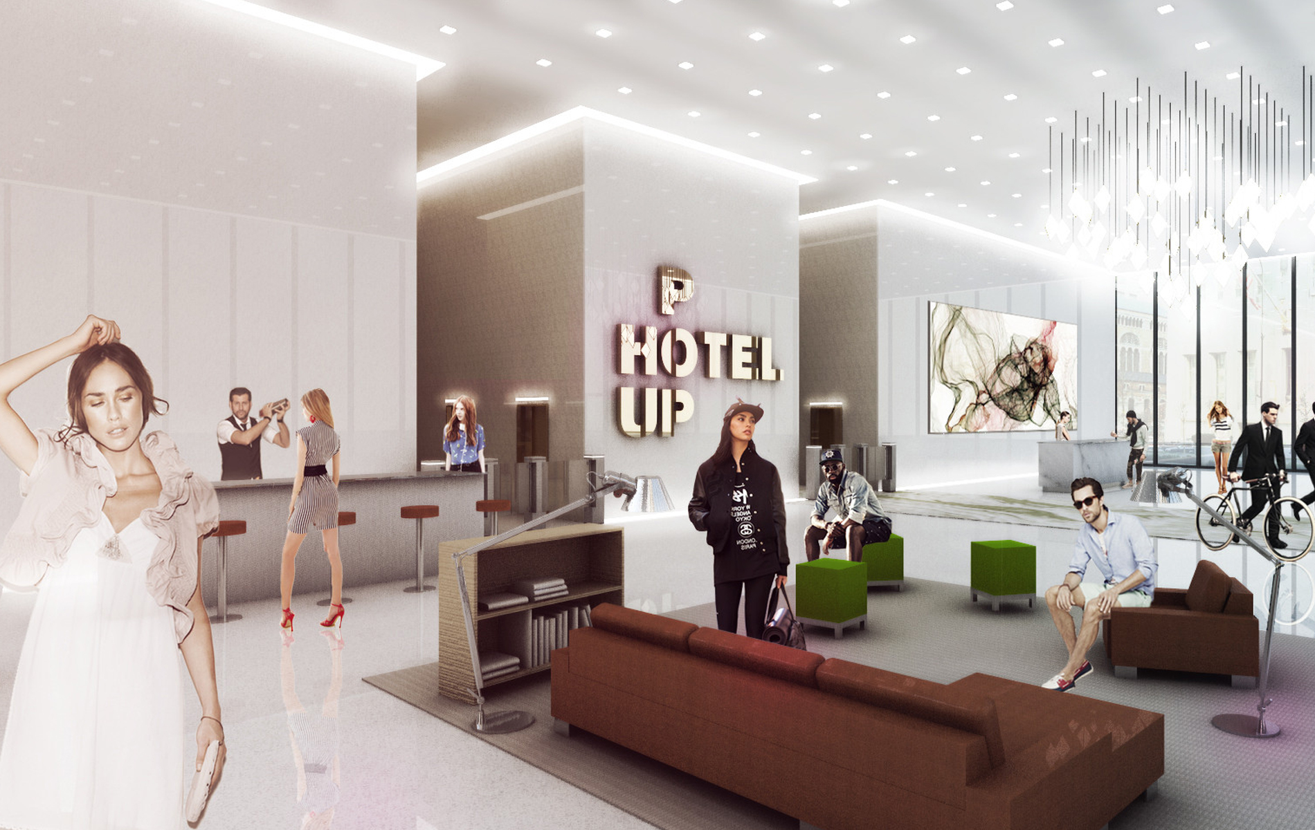 Pink Cloud Pop Up Hotel Rendering Idea