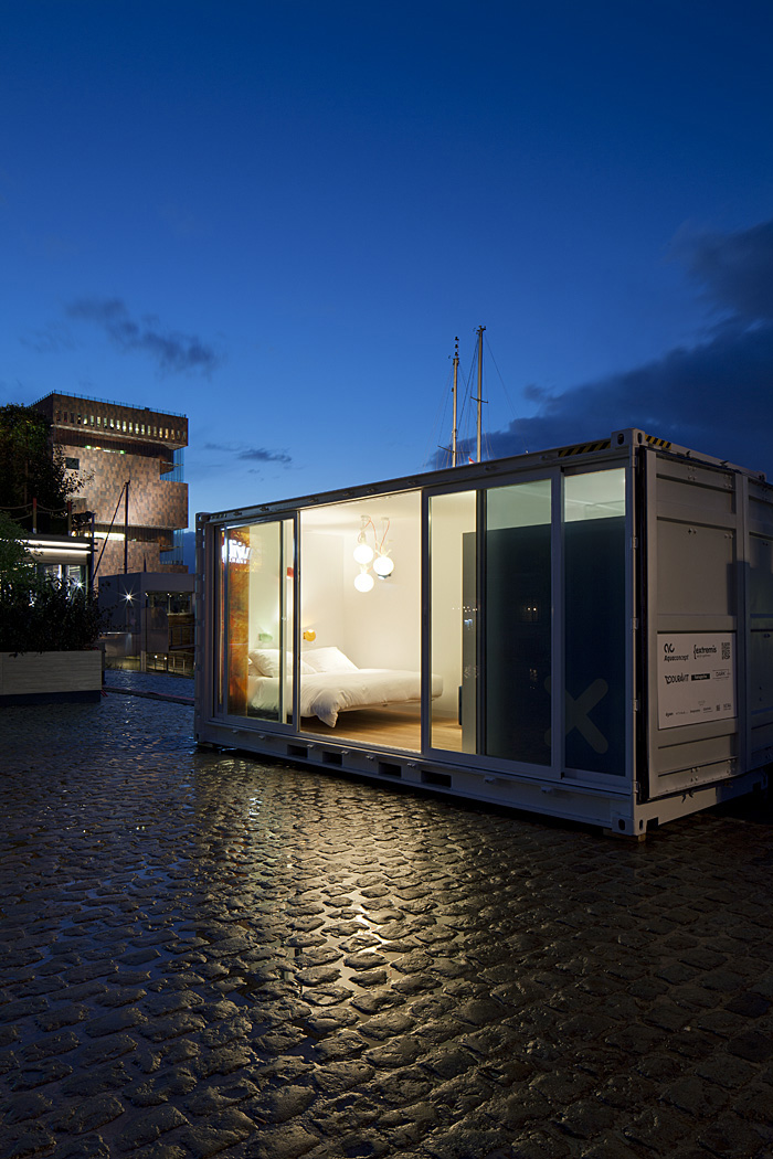 Sleeping Around Pop Up Hotel Exterior Night