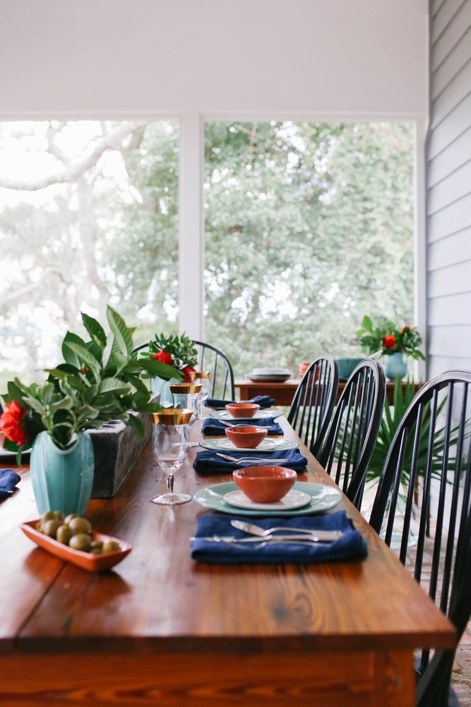 Southern table setting on porch, Saints of Old Florida