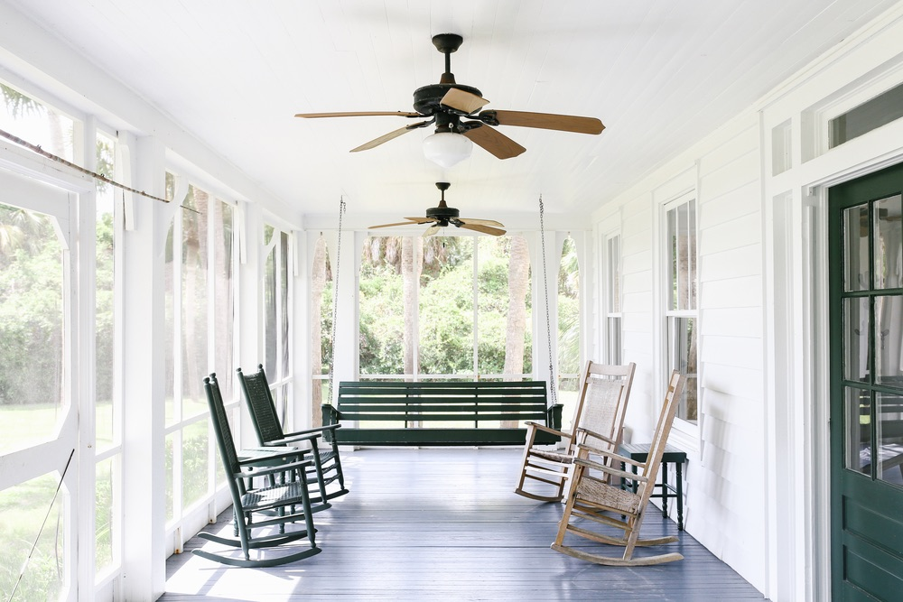 White southern porch with rocking chairs, Saints of Old Florida