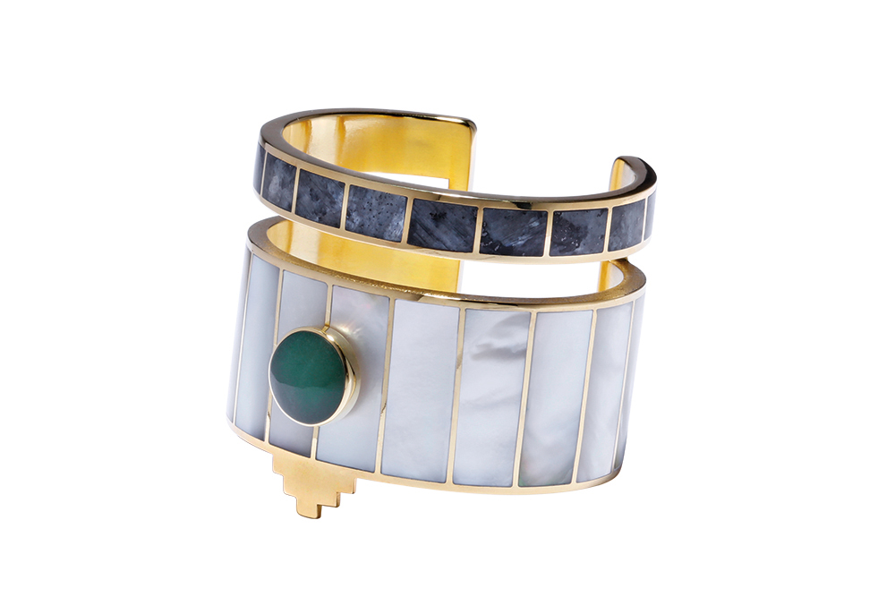 Monica Sordo Yma Cuff Bracelet in White and Grey, cest la vie, curated collection, crowning jewels