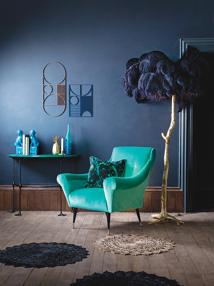 Duresta for Matthew Williamson Estelle Teal Tango Chair, cest la vie, curated collection, crowning jewels