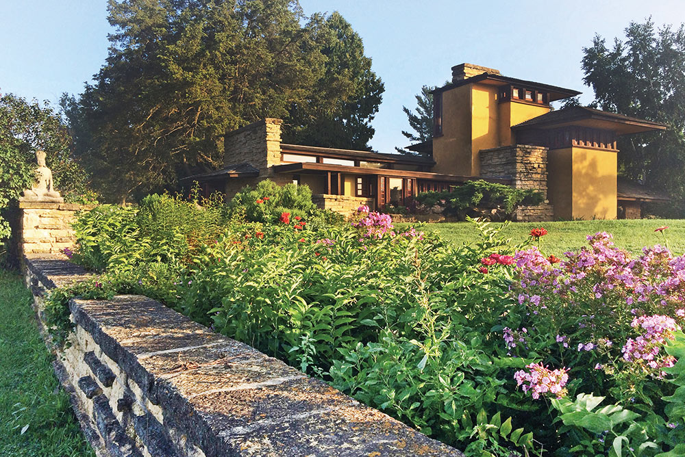 Exterior shot of Taliesin residence designed by Frank Lloyd Wright architecture estate home and decor