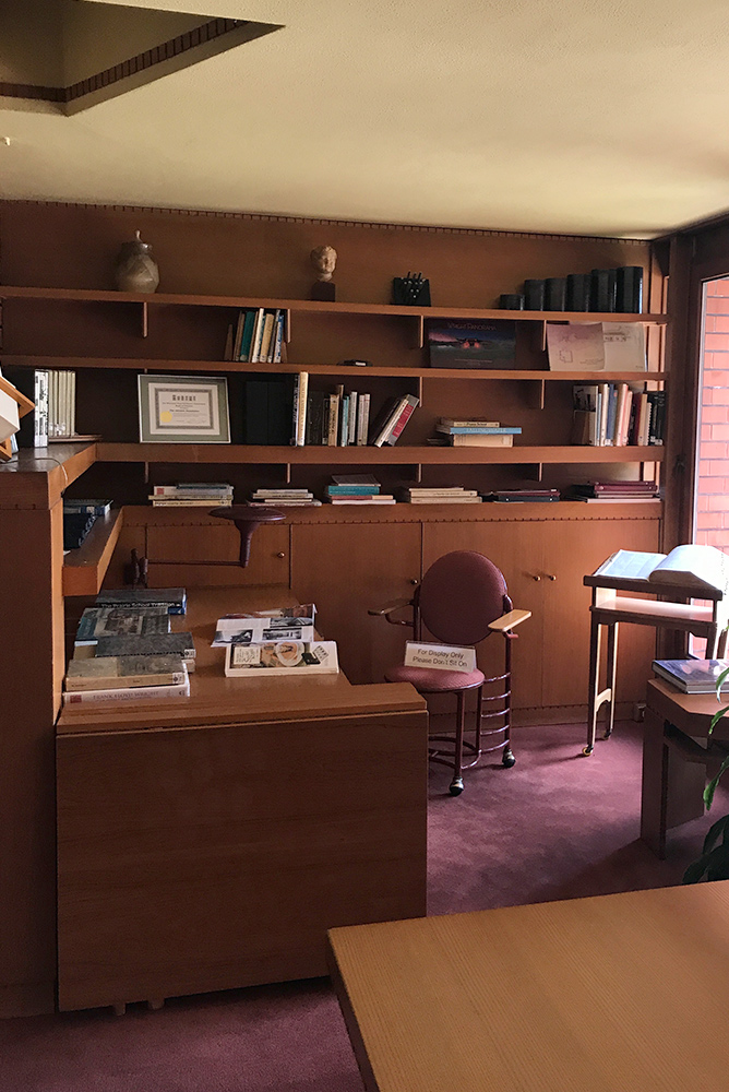 Interior of office space at Wingspread Estate designed by architect Frank Lloyd Wright