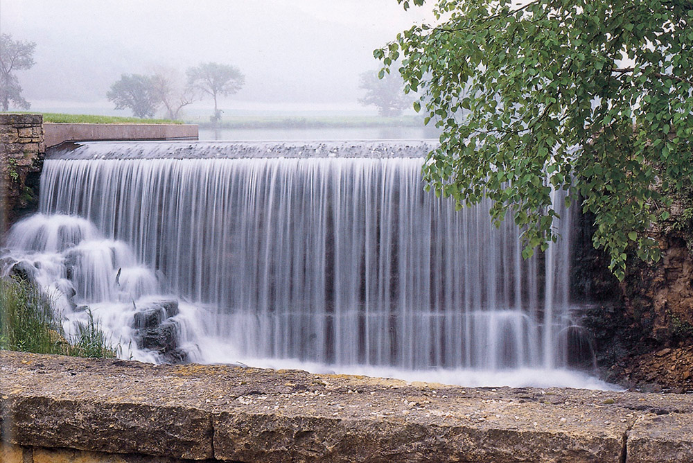 The dam at Taliesin in Spring Green Wisconsin the waterfall pumps water to the house