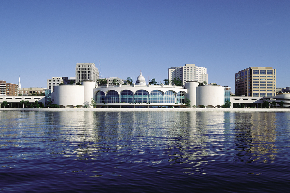 Gorgeous view of Monona Terrace on the water Frank Lloyd Wright architecture