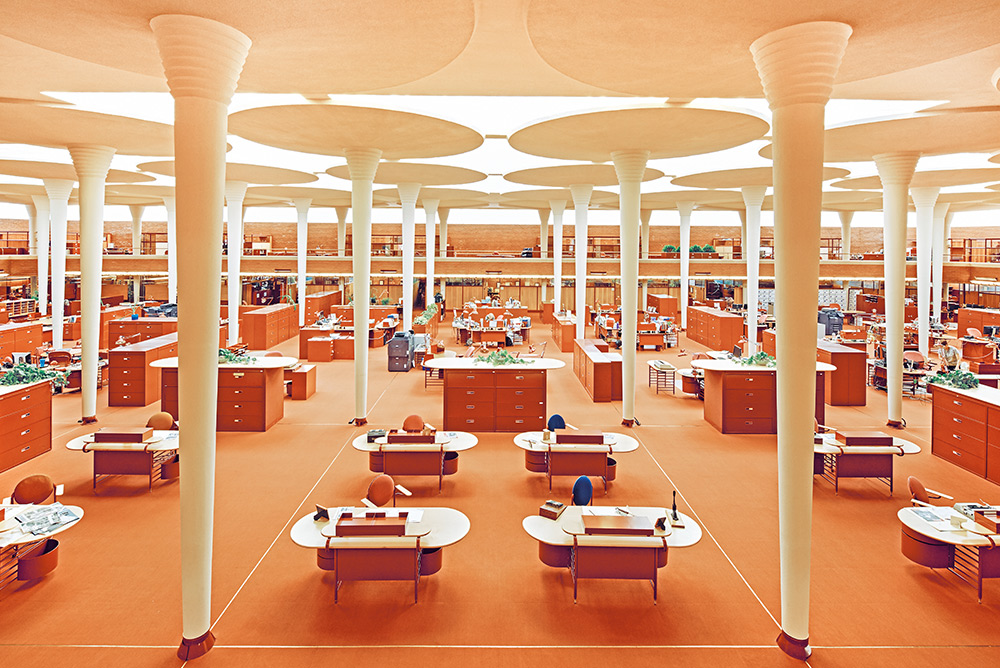 The Great Workroom at the SC Johnson Administration Building designed by Frank LLoyd Wright