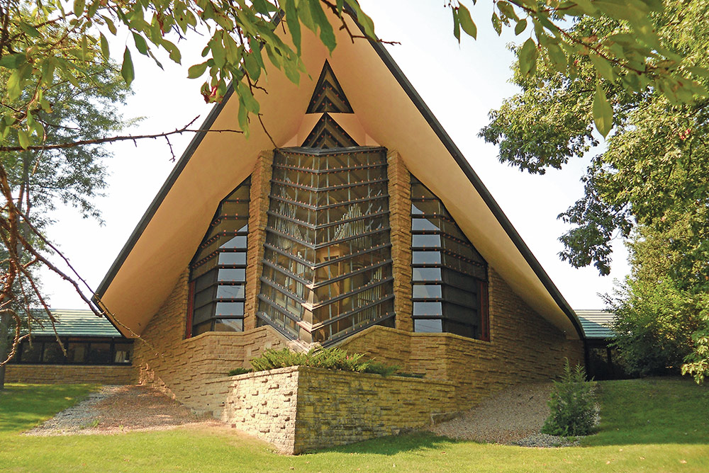 First Unitarian Society Meeting House in Madison designed by Frank Lloyd Wright