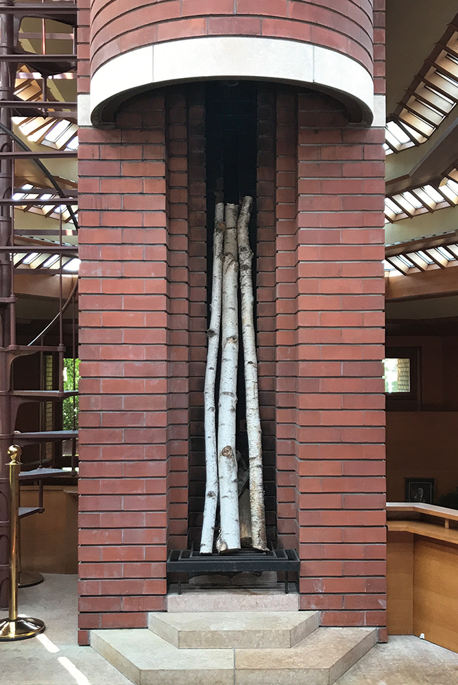 Vertical fireplace in the Wingspread Estate designed by Frank Lloyd Wright