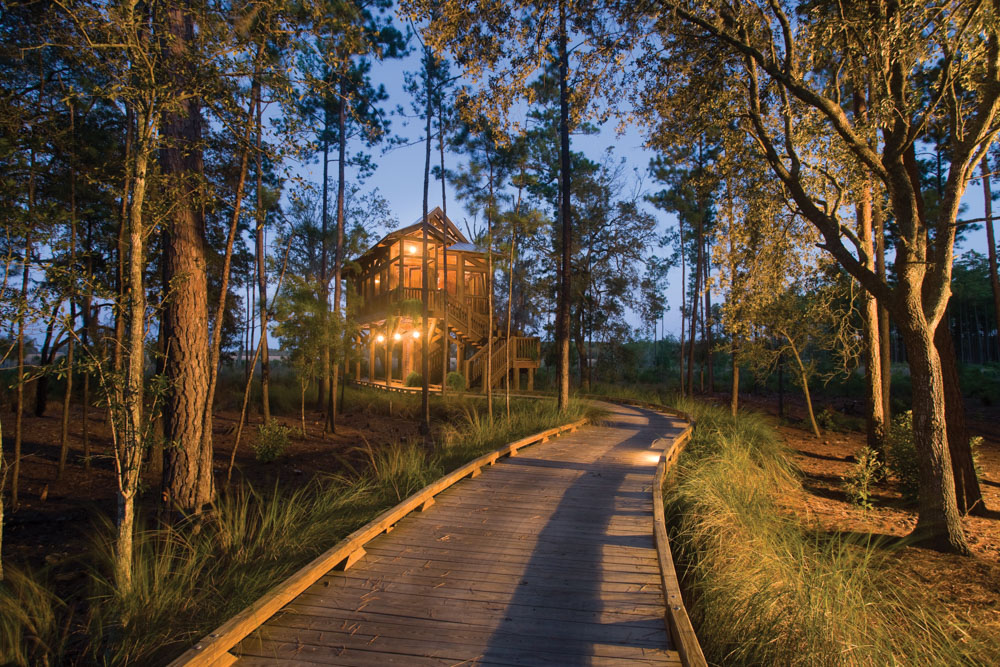 The Treehouse Spa offers massages, soaks, and other services in this whimsical reclaimed-wood retreat among the surrounding tidal marshes. Photos courtesy of Hampton Island Preserve