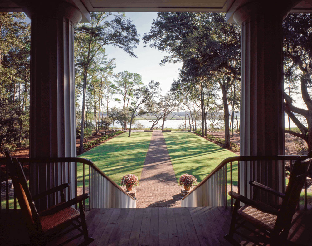 The late Robert Marvin, regarded as the father of Southern landscape architecture, designed the formal approach from the North Newport River to the Big House's large veranda.