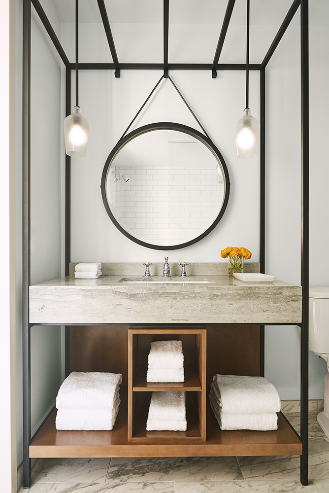Guest bathroom at the Kimpton Aertson Hotel in Nashville Tennesee modern structure home and decor issue