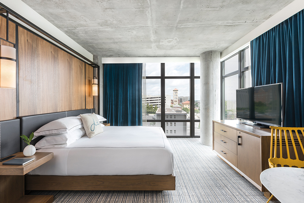 Guest bedroom in the Kimpton Aertson Hotel Nashville Tennessee Home and Decor 2017 VIE magazine
