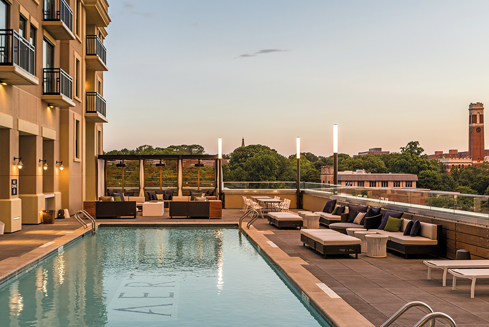 Rooftop pool deck at the Kimpton Aertson in Nashville Tennesee beautiful views modern hotel