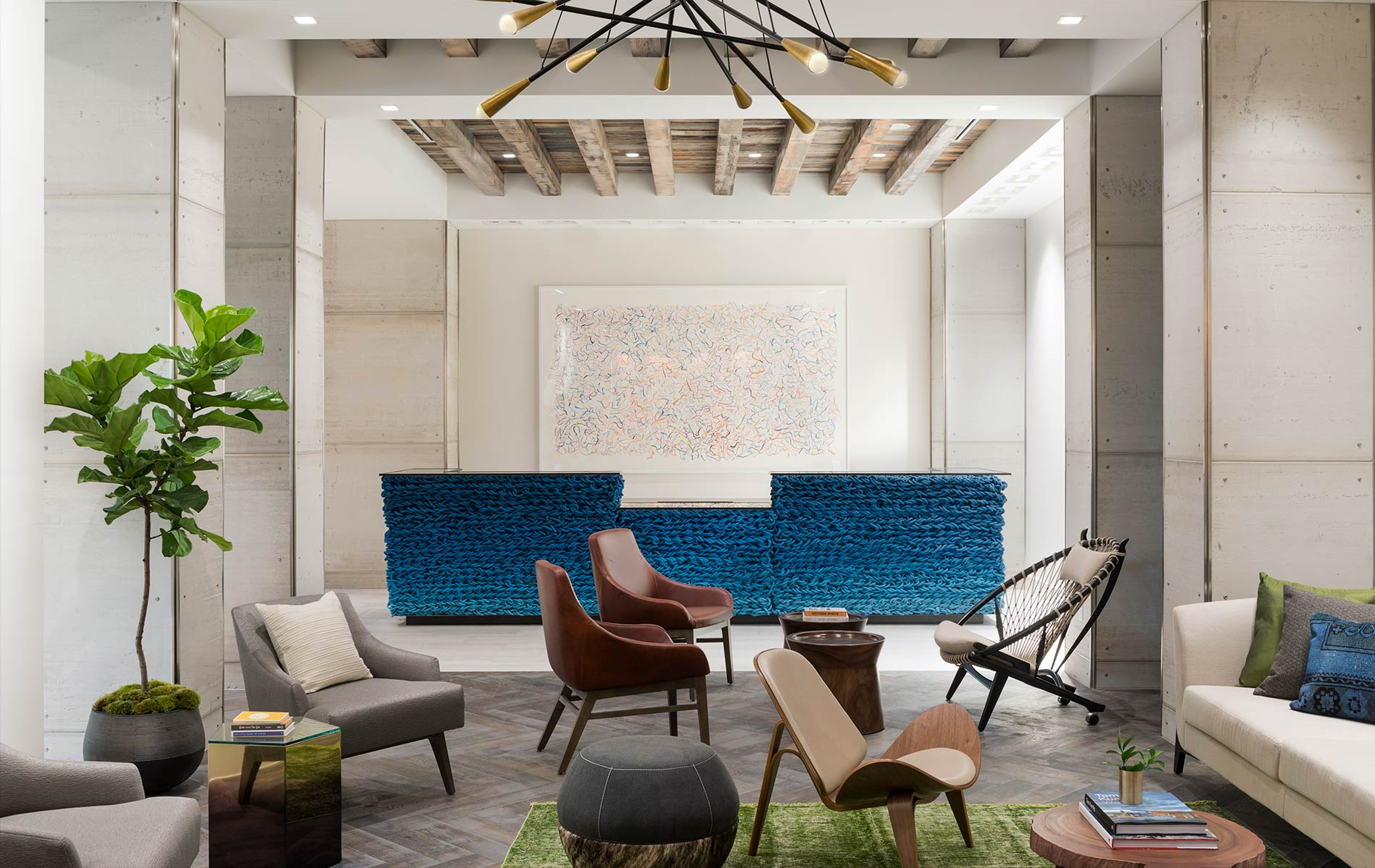 Lobby and lounge area at the Kimpton Aertson hotel in Nashville, Tennessee modern luxury