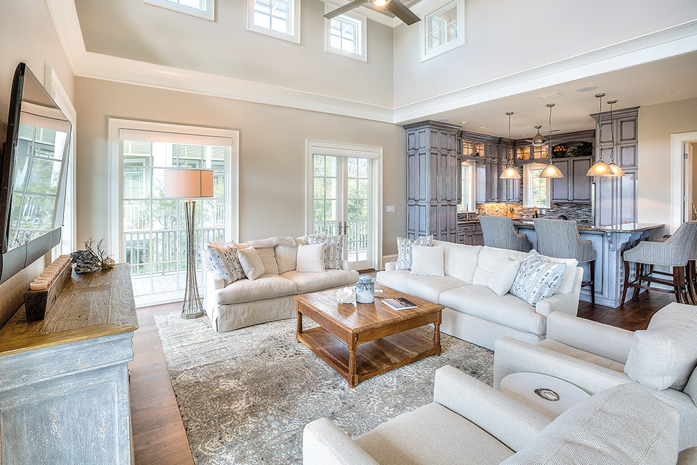 Luxurious home interior living room Linda Miller Luxury Real Estate smile of 30a