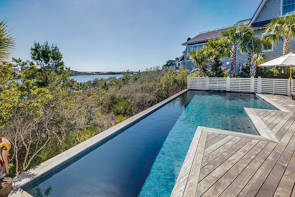 Gorgeous pool with a beach backdrop Linda Miller Luxury real estate smile of 30a