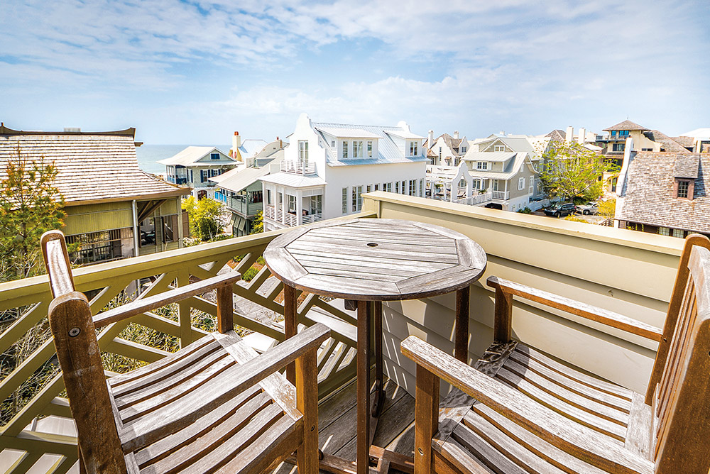 Beautiful view of rooftops and beach Linda Miller real estate the smile of 30a luxury views