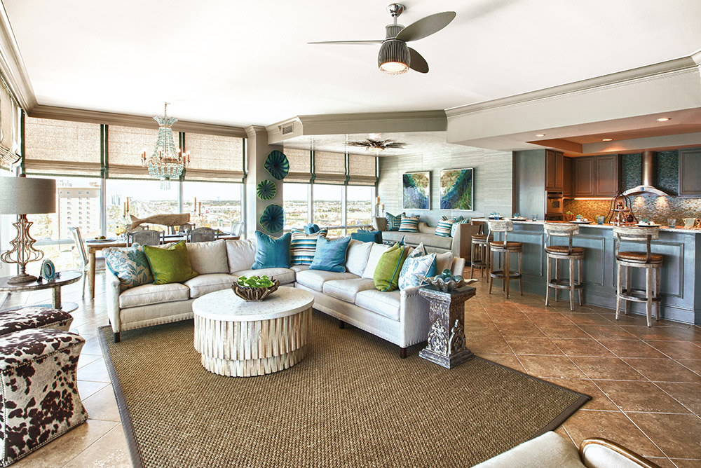 Open-concept living space designed by Lovelace designer Cara McBroom Susan Lovelace Home and Decor
