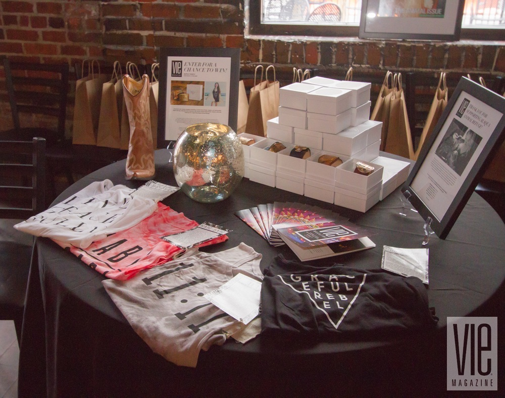 Raffle items from Annie Parker Jewelry and Graceful Rebel at VIE Magazine's