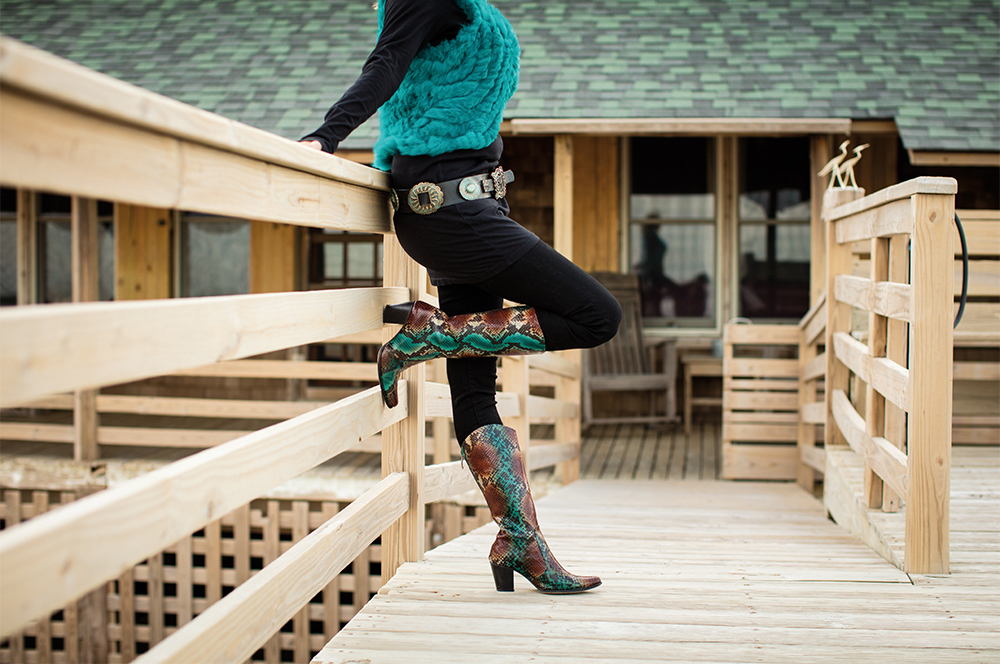 Model showing off her Rockwell Tharp Leather Boots