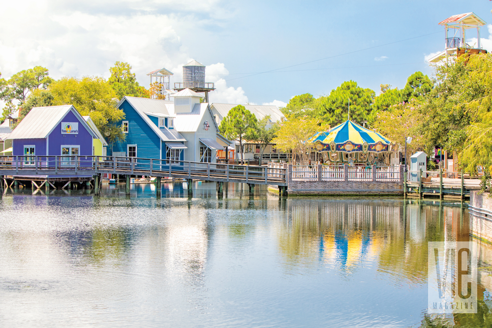 Beautiful landscape shot of The Village of Baytowne Wharf over the water