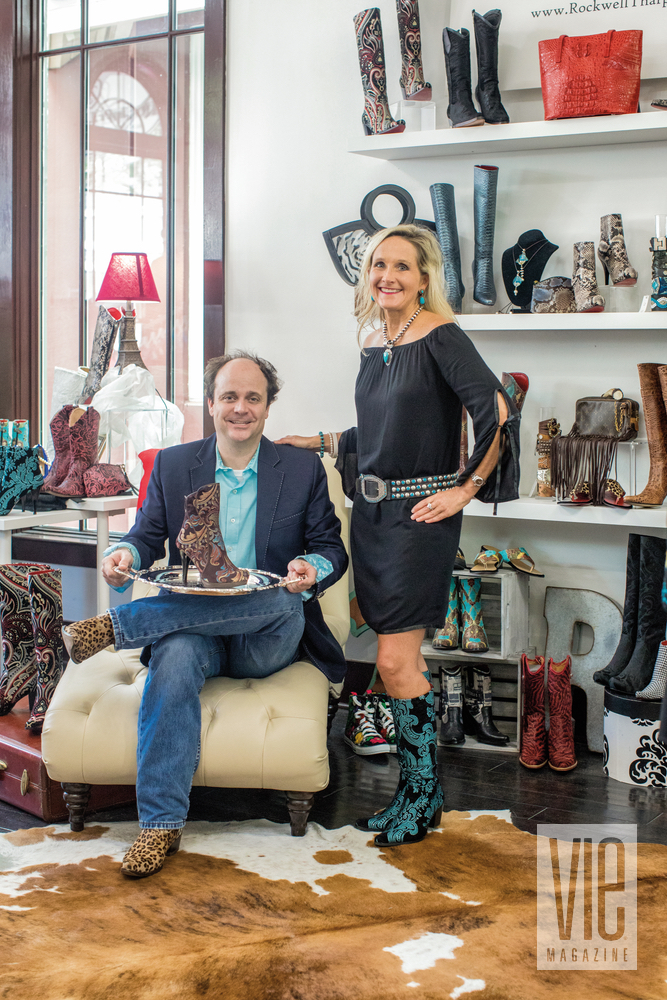 Owners Cameron Tharp and Kristi Rockwell inside their leather goods store Rockwell Tharp The Village