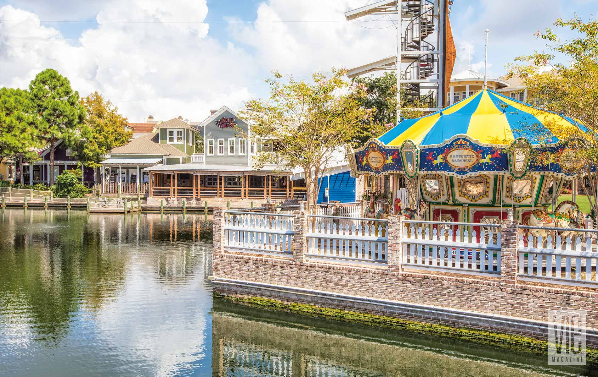 Carousel at The Village of Baytowne Wharf Blue skies fun games family experience