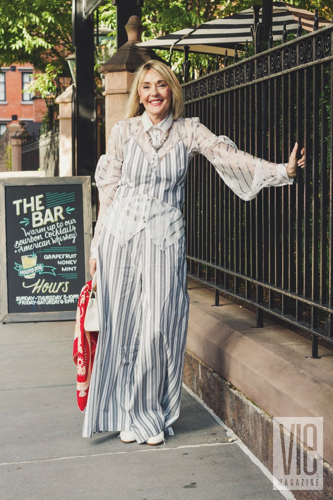 Founder and editor-in-chief Lisa Burwell in New York City on September 9, 2017, wearing a three-piece striped ensemble from Siriano's Spring/Summer 2017 Isle of Capri collection. Photo by Rinn Garlanger
