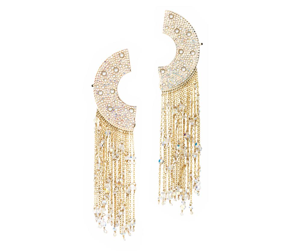 Eden Diodati Azu Earrings gorgeous gold chain earrings half circle shape cest la vie