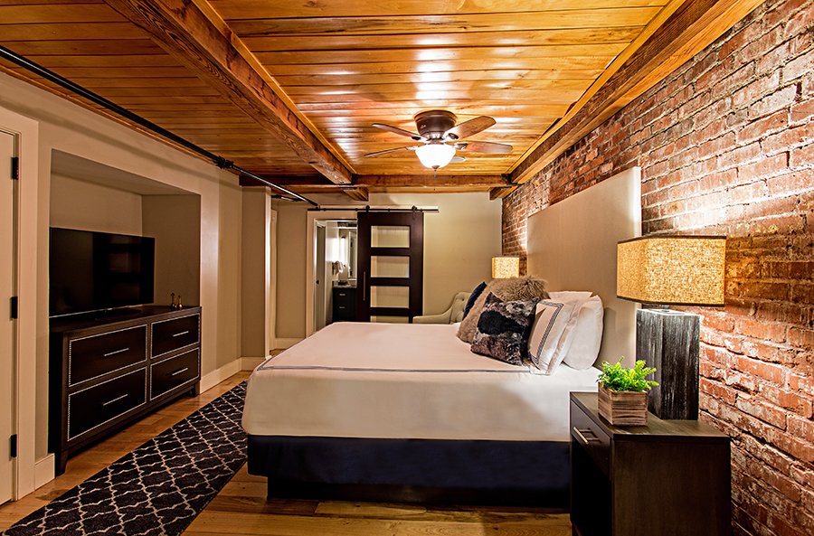 Bedroom in Event Space at The Restoration Hotel in Charleston, North Carolina
