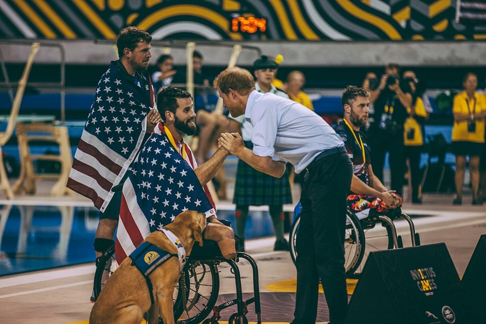 Prince Harry congratulating USA Swimming team member at the Invictus Games 2017 Toronto