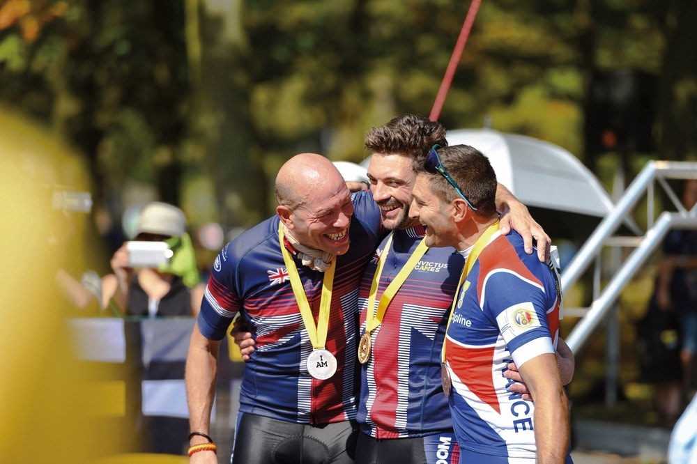 Cycling gold and silver were awarded to the UK and bronze to France. Left to right: Wayne Harrod, Karl Allen-Dobson, and Henri Rebujent Invictus Games 2017 Toronto.