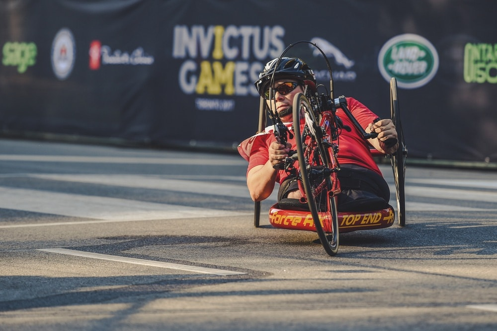 A member of Team Germany competes in the cycling time trial with a recumbent bike at the Invictus Games 2017 Toronto.