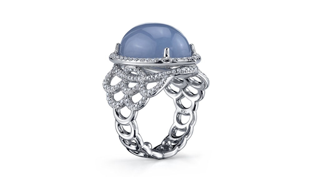 Treasure ring in blue chalcedony by Erica Courtney Drop Dead Gorgeous Collection 2017