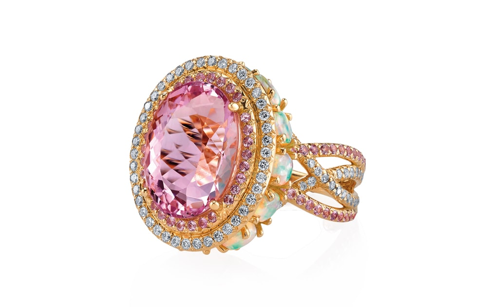 Crossover ring in Imperial pink with opals and pink sapphires by Erica Courtney
