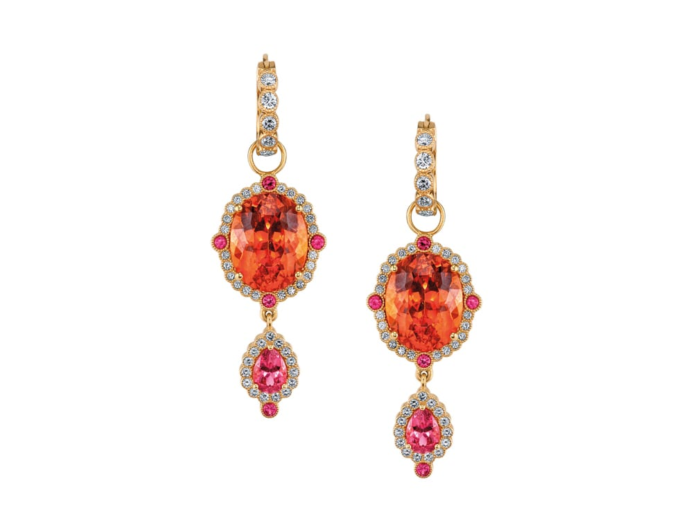 Gorgeous Imperial Earrings in Mandarin Garnet and Paraiba by Erica Courtney