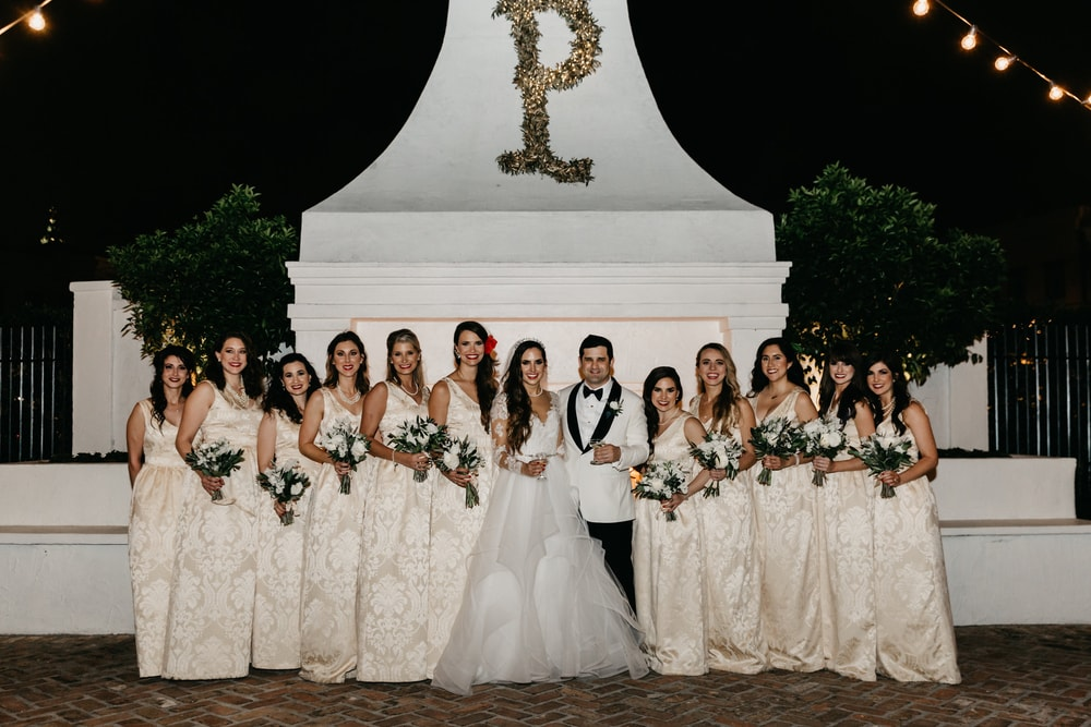 Group photo of the bridal party Sarah Elizabeth and Phillip Petitto New Orleans Wedding