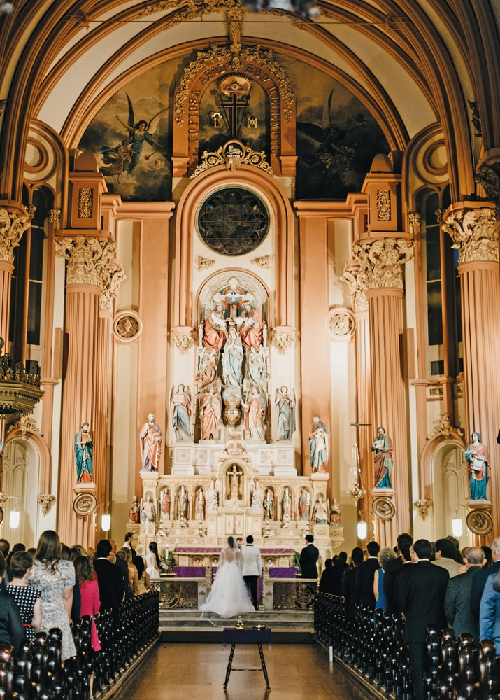 Interior shot at St. Mary's Assumption Church Sarah Elizabeth and Phillip Petitto Italian Wedding in New Orleans