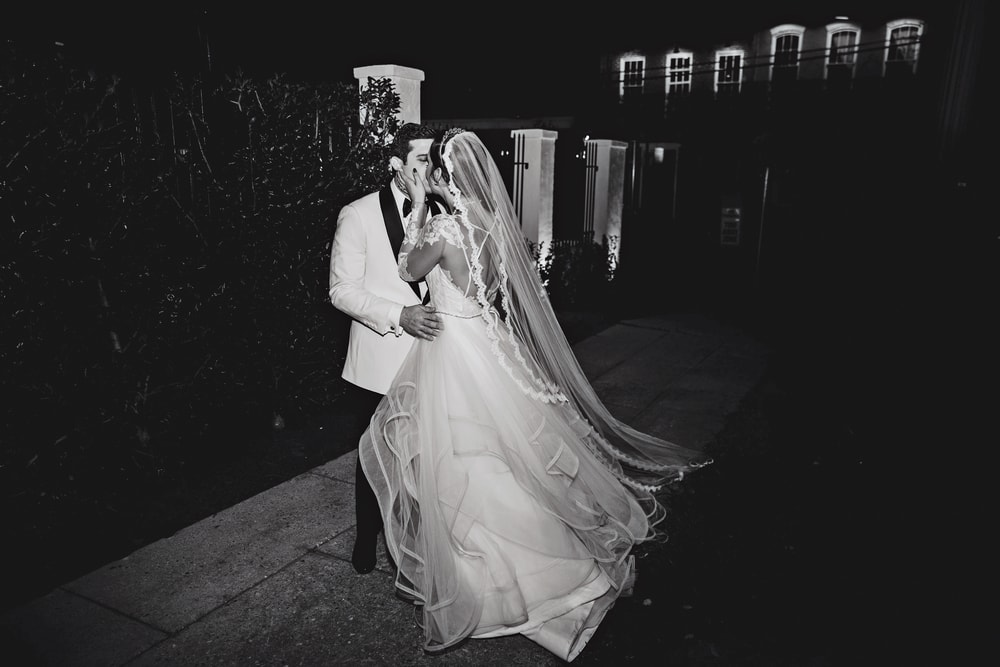 Intimate shot of the bride and groom, Sarah Elizabeth and Phillip Petitto at their big New Orleans wedding