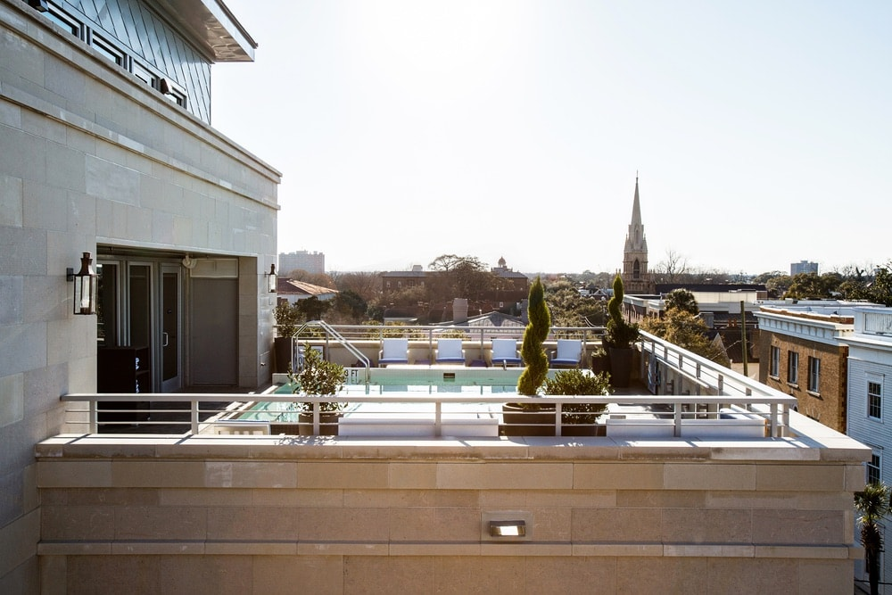 The Indigo Pool, located atop The Restoration Hotel roof, this intimate location is perfect for lounging about. Charleston, South Carolina