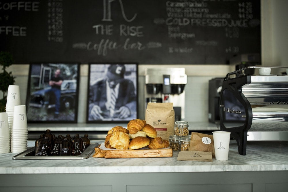 Pastries and coffee from The Rise Coffee Bar located next door to the Restoration Hotel in Charleston, South Carolina