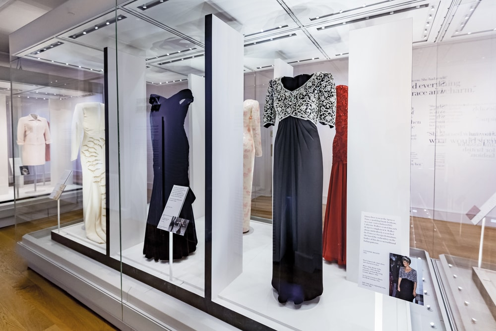 Dresses from the Diana: Her Fashion Story exhibition a short walk away from the Kensington hotel