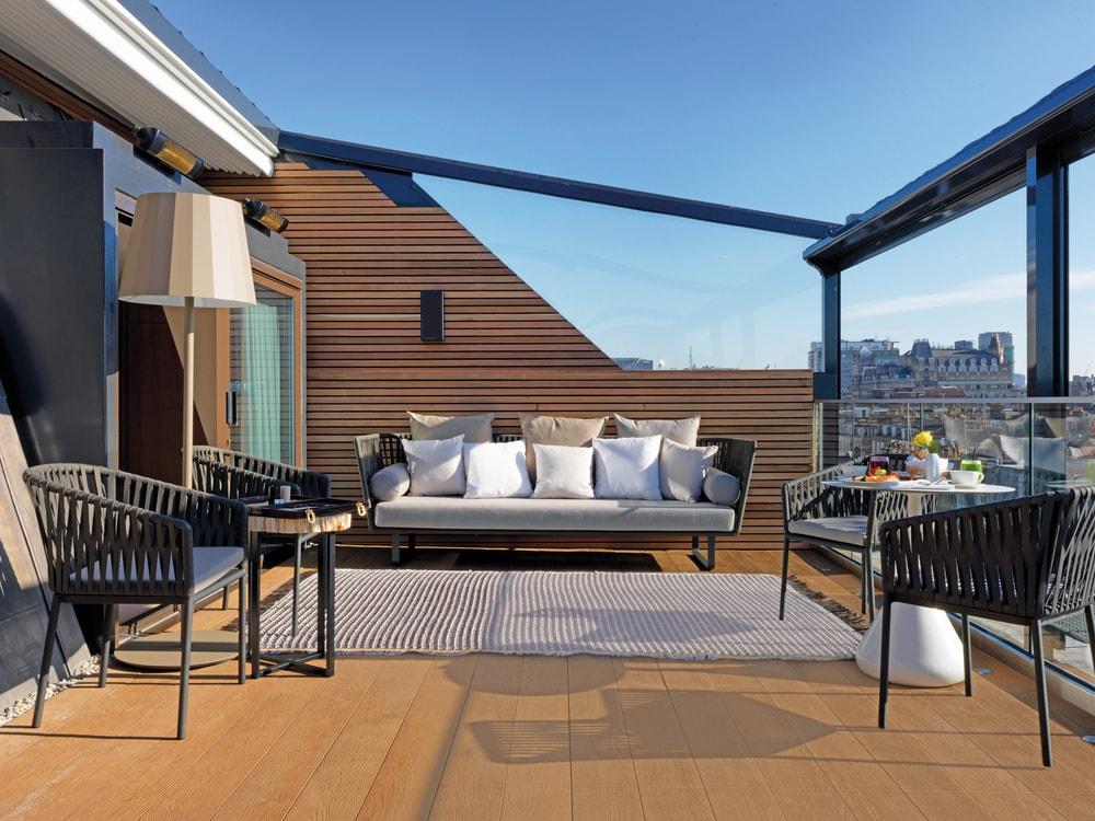 Incredible rooftop terrace in the Marylebone Suite with a sweeping city view Villages of London 2017