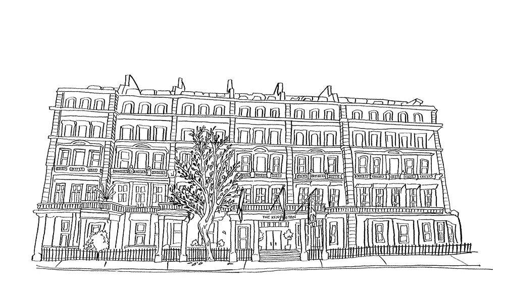 Ink drawing of the Kensington Hotel in London Sophisticate 2017