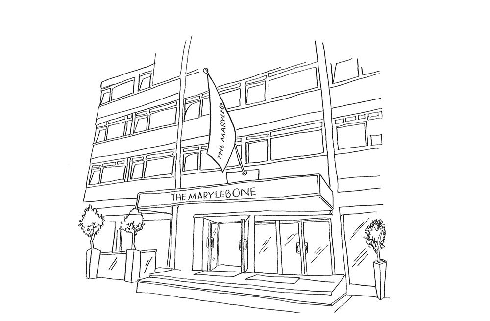 Illustration by Lucy Young of the Marylebone Hotel in London Villages of London 2017